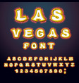 las vegas font glowing lamp letters retro vector image vector image