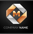 letter m logo symbol in the colorful rhombus on vector image vector image