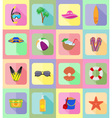 objects for recreation a beach flat icons 20 vector image vector image