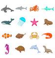 ocean inhabitants icons set cartoon style vector image vector image