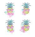 pineapple with glasses design exotic background vector image vector image