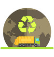planet with recycling symbol car with trash vector image