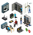 server hardware signs icons set isometric view vector image vector image