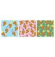 set seamless patterns with ice cream taiyaki vector image
