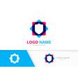 shield tech logo cyber security logotype vector image