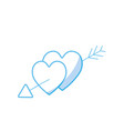 silhouette hearts with arrow to symbolic of passin vector image