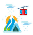 snowboarder sitting in ski gondola and lift vector image vector image