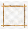square brown frame made of bamboo stems with copy vector image