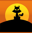 sunset black cat vector image