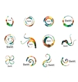 swirl circle logo set vector image