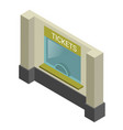 ticket window isometric icon booking or box vector image vector image