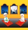 two cte children are reading al quran vector image vector image