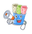 with megaphone rolled ice creams in cartoon cups vector image vector image