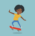 young african-american woman riding skateboard vector image vector image