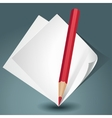white paper with a red pencil vector image