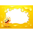 A yellow border template with a monster holding a vector image vector image