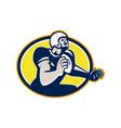American Football Quarterback Retro Oval vector image vector image
