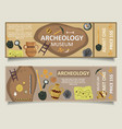 archaeological museum ticket template set vector image vector image