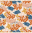autumn decorative rowanberry seamless pattern vector image vector image