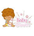 baby boy with feeding bottle and stars vector image vector image