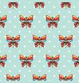 butterfly blue polka dot vector image vector image