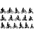 children riding bicycles silhouettes collection vector image