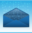 christmas blue envelope with snowflakes and vector image vector image