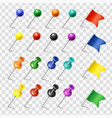 colored pins flags tack pointer pinned markers vector image