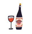 corked bottle alcohol and glass red wine vector image
