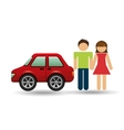 couple with hatchback car red vector image