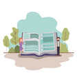 couple with text book in landscape avatar vector image vector image