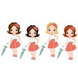 cute little girls in retro style vector image
