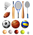 Different kind of balls and bats vector image vector image