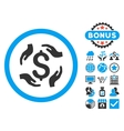 Dollar Care Hands Flat Icon with Bonus vector image vector image