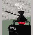 early morning turkish coffee with a cezve vector image