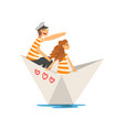family couple in orange white striped t-shirts vector image