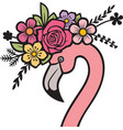 flamingo head with flowers color vector image