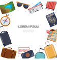 flat travel accessories template vector image vector image