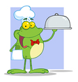 Frog Chef Serving Food In A Sliver Platter vector image vector image