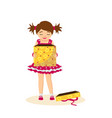 girl opens birthday gift waiting for surprise vector image vector image