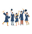 graduated students in protective mask new reality vector image