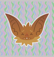 halloween bat smiley head got scared with closed vector image vector image
