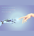 hand of the robot and person vector image