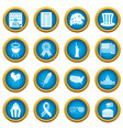 independence day flag icons blue circle set vector image vector image