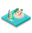 isometric of windsurfer Tropical island on the sea vector image vector image