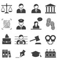 justice law legal icons vector image vector image