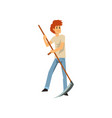 male farmer mowing grass with scythe farm worker vector image