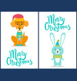 merry christmas dog and rabbit vector image vector image