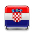 Metal icon of Croatia vector image vector image