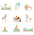 modern woman daily routine from morning to evening vector image